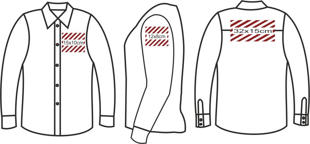 Wymiary nadruków koszula z długim