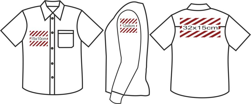 Wymiary nadruków koszula z krótkim