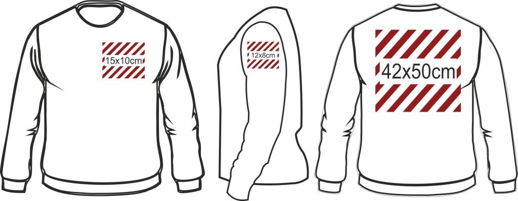wymiary nadruków bluza