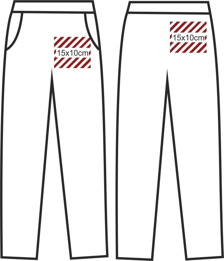 wymiary nadruków spodnie