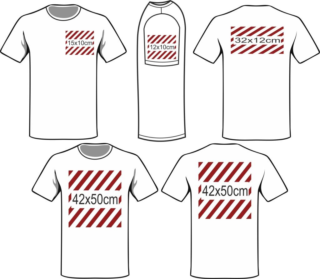 wymiary nadruków t-shirt